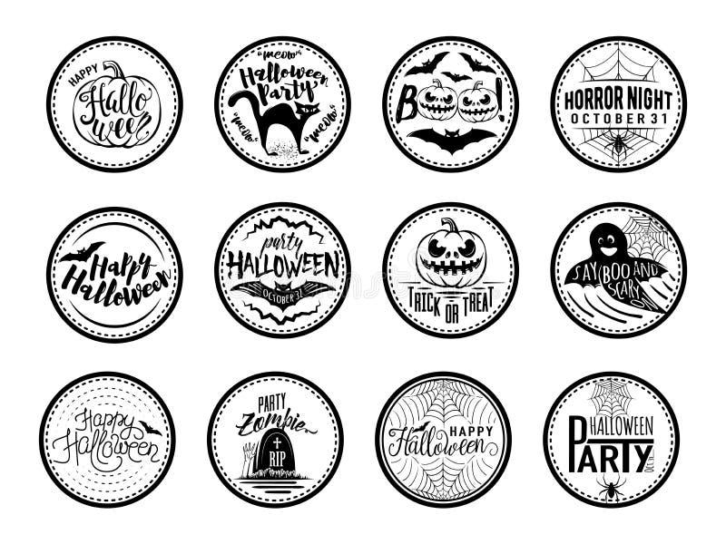 Vector el ejemplo de las insignias de Halloween y diseñe los elementos con símbolos stock de ilustración