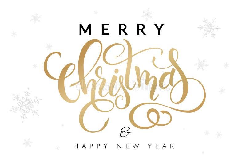 Vector el ejemplo de las letras dibujadas mano - Feliz Navidad y Feliz Año Nuevo - con los copos de nieve en el fondo stock de ilustración