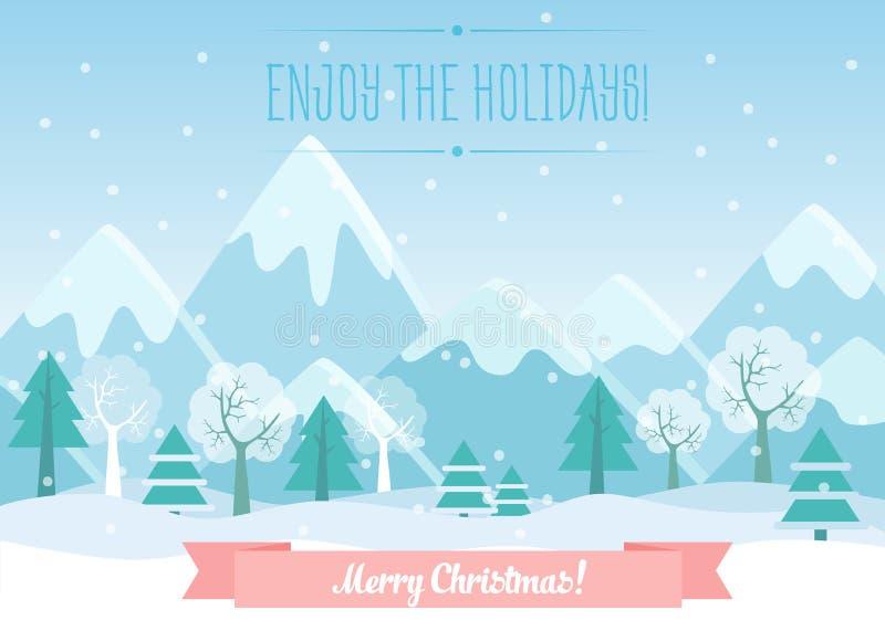 Vector el ejemplo de las montañas del invierno ajardinan con el bosque del pino y el texto de la Feliz Navidad Tarjeta de Navidad ilustración del vector