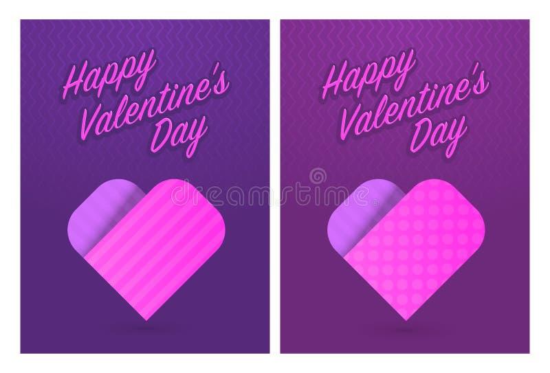 Vector el ejemplo de las tarjetas de felicitación para el día de tarjetas del día de San Valentín del St libre illustration
