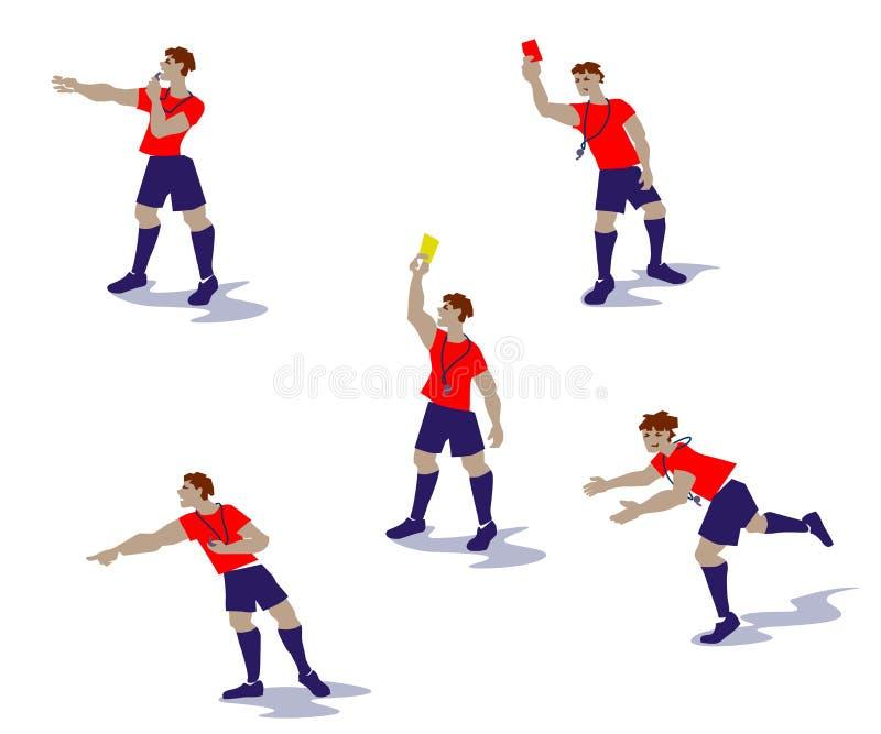 Vector el ejemplo de los árbitros del fútbol, árbitros del fútbol en acciones ilustración del vector