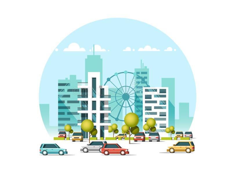 Vector el ejemplo de los coches que parquean a lo largo de la calle Tráfico adentro hacia el centro de la ciudad Rascacielos de l ilustración del vector