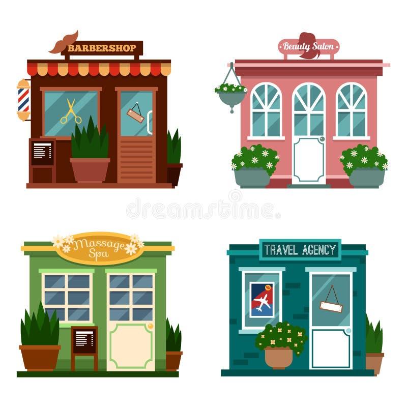 Vector el ejemplo de los edificios que son tiendas para los servicios Sistema de tiendas planas agradables Diverso escaparate - s libre illustration