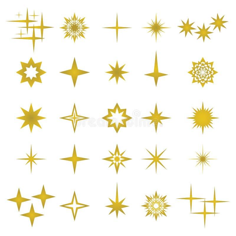Vector el ejemplo de los elementos y de los símbolos de oro de las chispas ilustración del vector