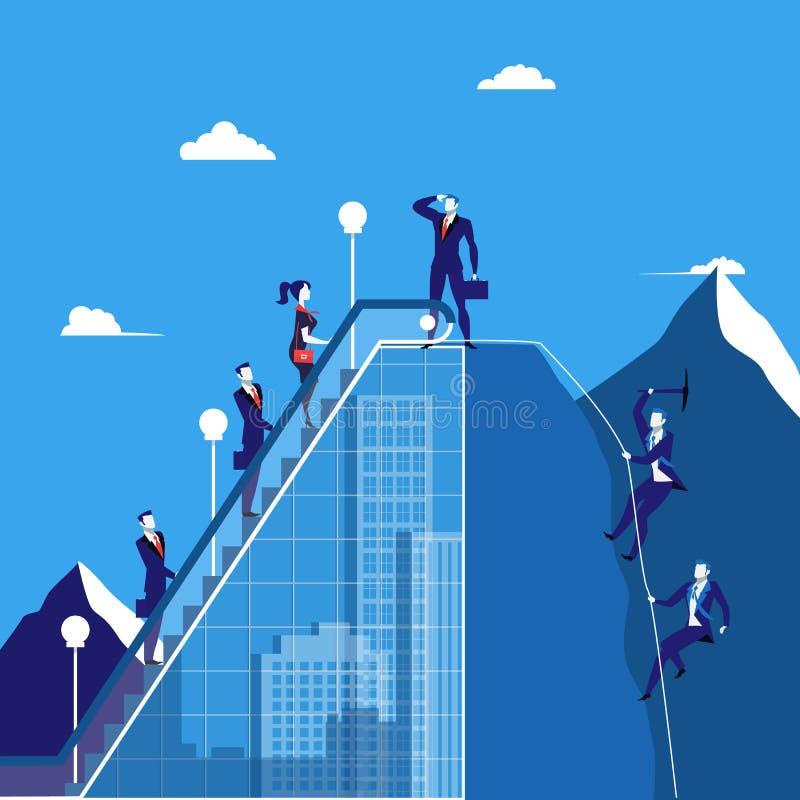 Vector el ejemplo de los hombres de negocios que suben la montaña, estilo plano libre illustration