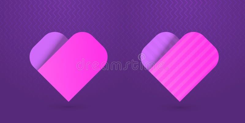 Vector el ejemplo de los iconos del corazón en fondo púrpura ilustración del vector