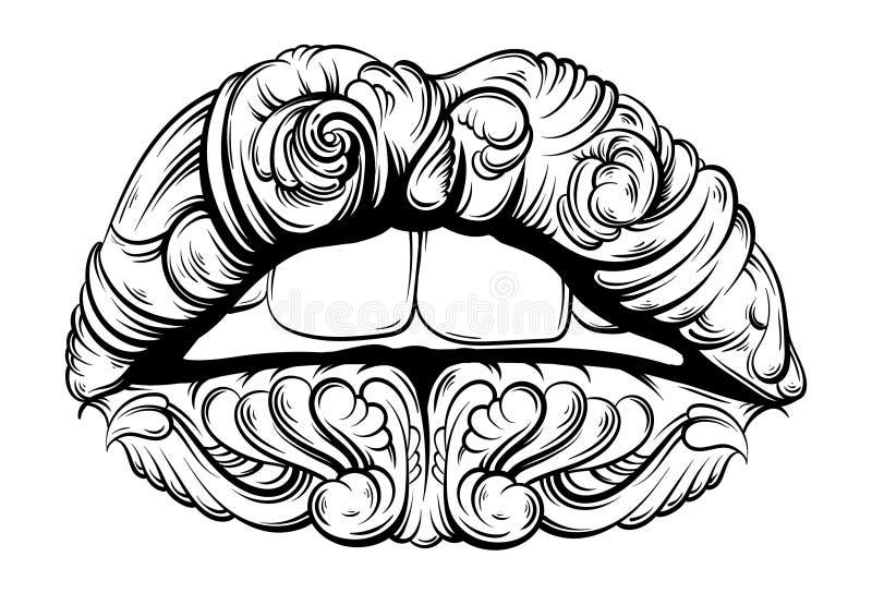 Vector el ejemplo de los labios surrealistas hechos estilo dibujado disponible stock de ilustración