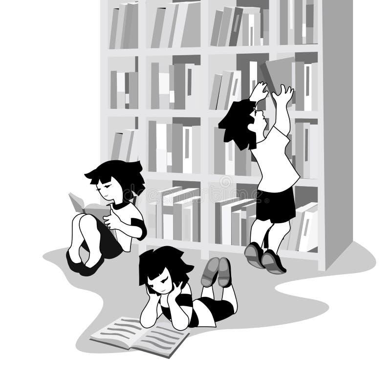 Vector el ejemplo de los libros de lectura felices de los niños en librería libre illustration
