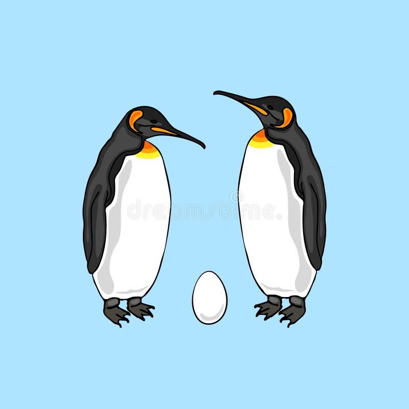 Vector el ejemplo de los pares del pingüino del pájaro con el huevo stock de ilustración