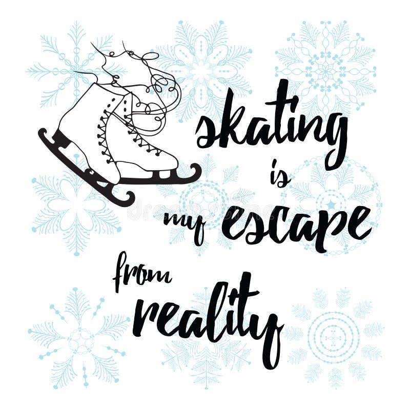 Vector el ejemplo de los patines de hielo clásicos para las siluetas negras de las señoras stock de ilustración