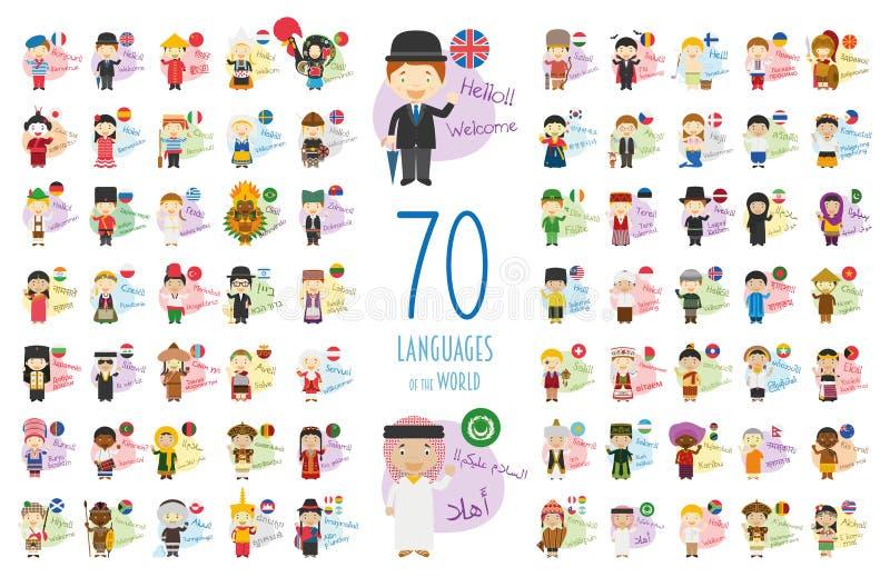 Vector el ejemplo de los personajes de dibujos animados que dicen hola y délo la bienvenida en 70 otros idiomas ilustración del vector