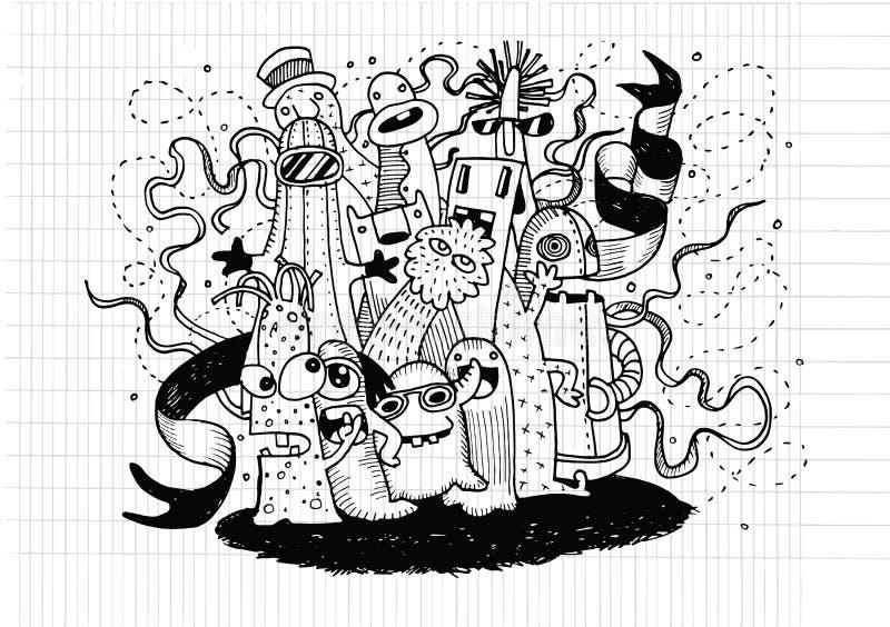 Vector el ejemplo de monstruos y de amistoso extranjero lindo ilustración del vector