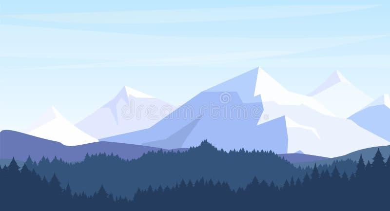 Vector el ejemplo de montañas hermosas con el fondo de la silueta del bosque en colores en colores pastel viaje, turismo, caminan libre illustration