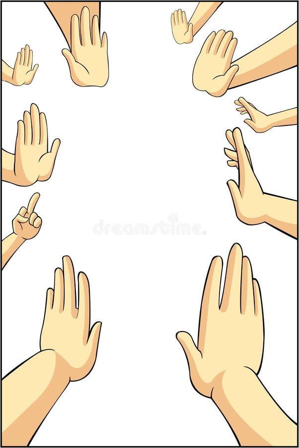 Vector el ejemplo de muchas manos de la gente de la historieta que intentan al refus stock de ilustración