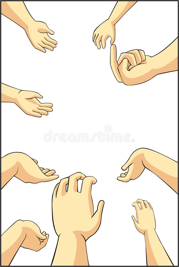 Vector el ejemplo de muchas manos de la gente de la historieta que intentan asir, libre illustration