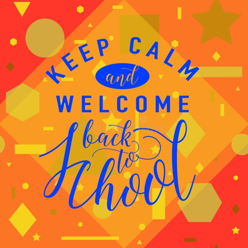 Vector el ejemplo de nuevo a la tarjeta de felicitación de la escuela con el elemento de las letras en fondo geométrico inconsúti libre illustration