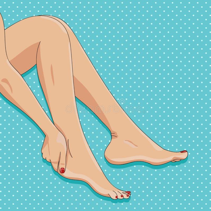 Vector el ejemplo de piernas femeninas delgadas, sentándose descalzo, si libre illustration