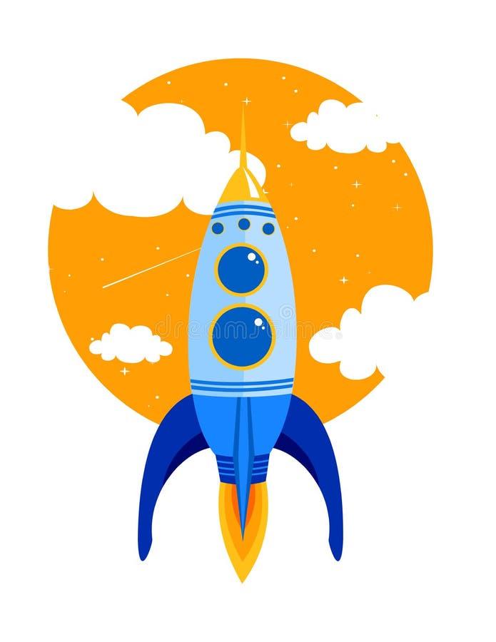 Vector el ejemplo de Rocket aprisa vuela en cielo entre las nubes Comience para arriba el concepto del negocio en estilo plano ilustración del vector