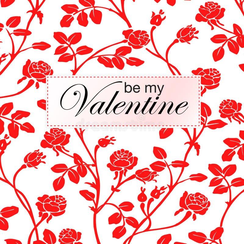 Vector el ejemplo de rosas rojas y sea mi tarjeta de la tarjeta del día de San Valentín ilustración del vector