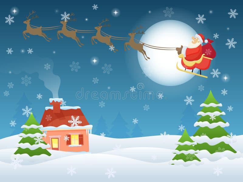 Vector el ejemplo de Santa Claus que vuela sobre casa y árboles en la noche Tarjeta de felicitación del paisaje de la Nochebuena stock de ilustración