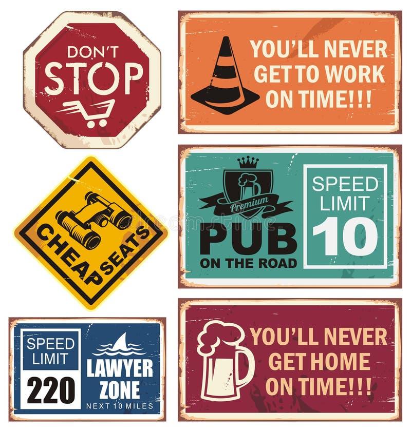Vector el ejemplo de señales de tráfico con los mensajes creativos únicos stock de ilustración