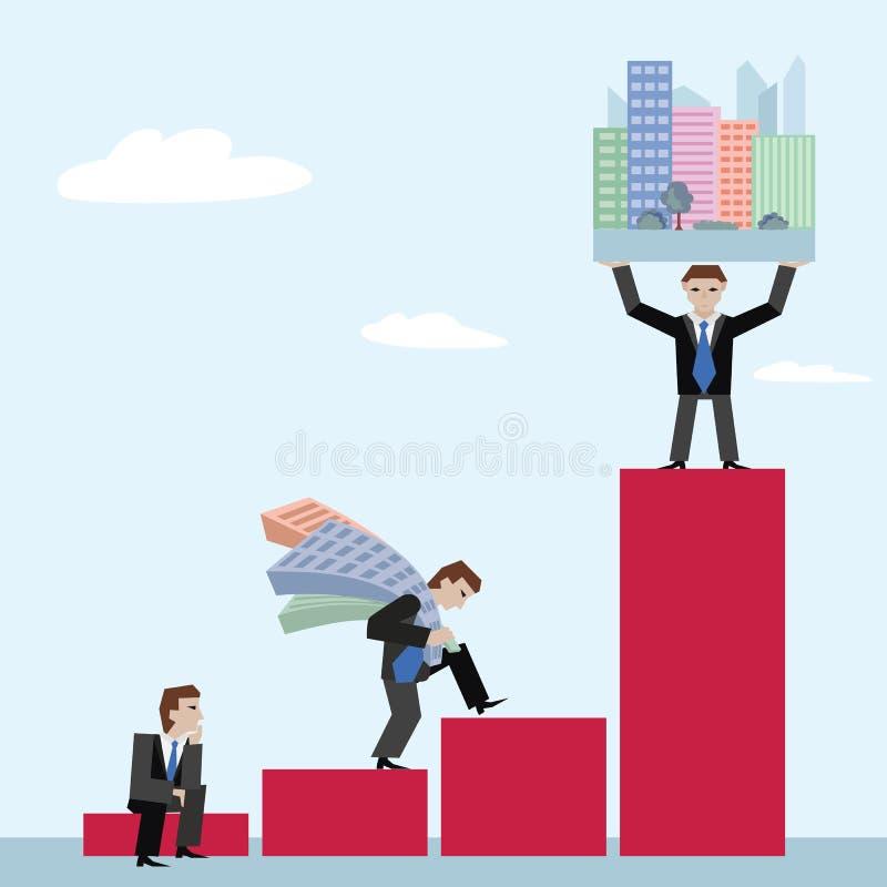 Vector el ejemplo de tres businessmans con las casas en carta stock de ilustración