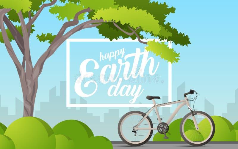 Vector el ejemplo de un árbol con Día de la Tierra feliz del texto Árboles verdes con coronas grandes y una bici Usted puede util libre illustration