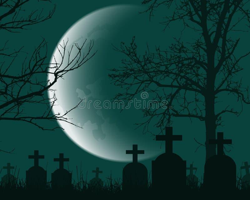 Vector el ejemplo de un cementerio con las lápidas mortuorias, árboles muertos ilustración del vector