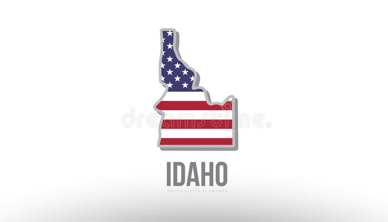 Vector el ejemplo de un estado del condado con la bandera de los E.E.U.U. Estados Unidos stock de ilustración
