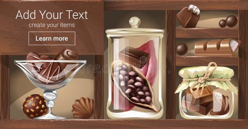 Vector el ejemplo de un estante de madera con los tarros de cristal, un cuenco llenado del caramelo de chocolate, pedazos de choc stock de ilustración
