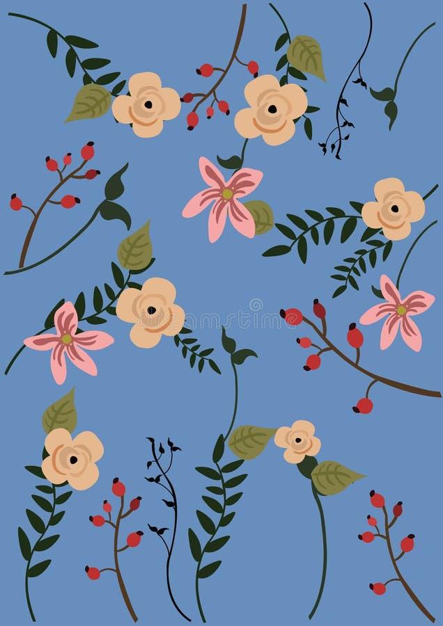 Vector el ejemplo de un fondo azul con las flores y las hojas ilustración del vector