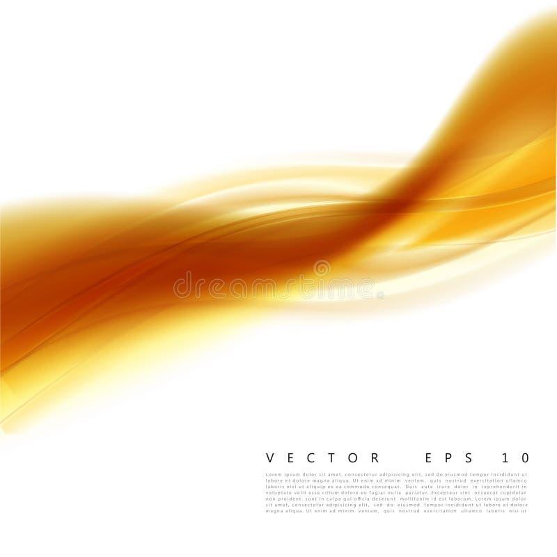 Vector el ejemplo de un fondo ondulado anaranjado abstracto, onda amarillo-naranja acodada lisa, línea con efecto luminoso libre illustration