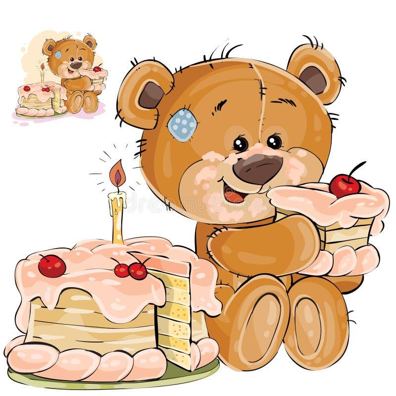 Vector el ejemplo de un gusto por lo dulce marrón del oso de peluche que come un pedazo de torta de cumpleaños stock de ilustración