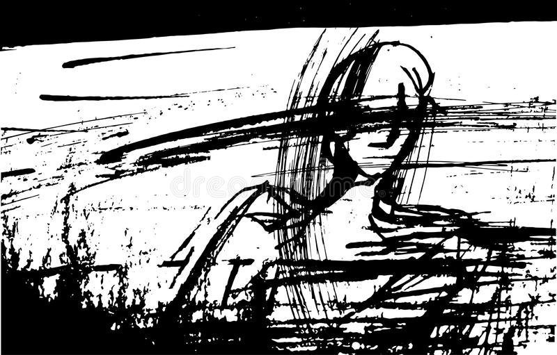 Vector el ejemplo de un hombre con sus ojos cerrados, estilizado, gráfico, tinta, líneas, puntos, stock de ilustración