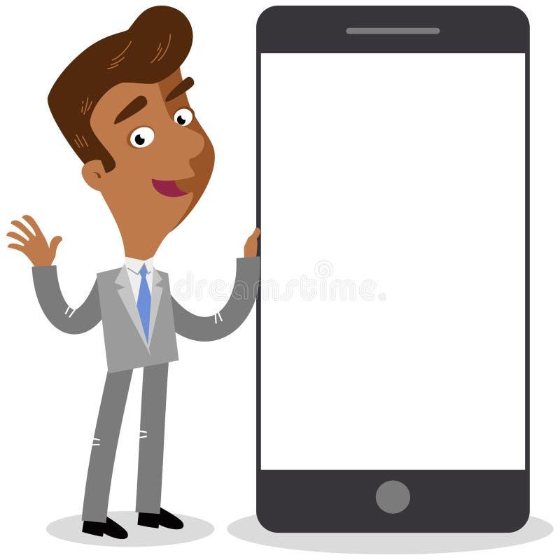 Vector el ejemplo de un hombre de negocios asiático feliz de la historieta que se coloca al lado de smartphone gigante libre illustration