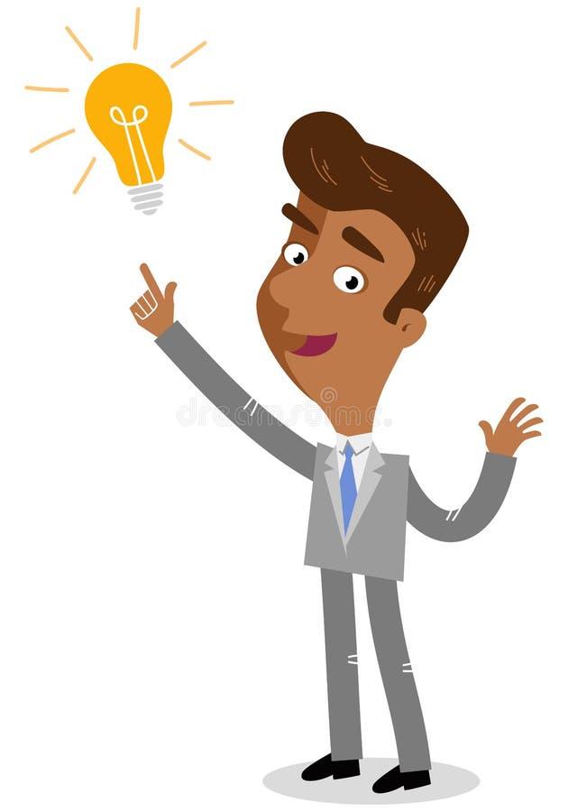 Vector el ejemplo de un hombre de negocios asiático joven creativo de la historieta que señala en la bombilla, teniendo una idea ilustración del vector