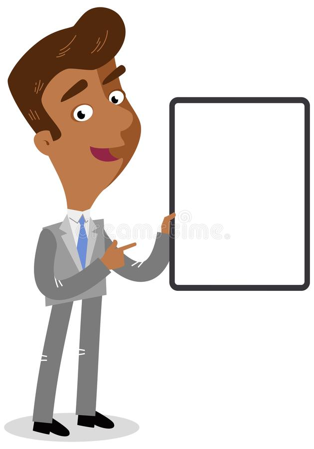 Vector el ejemplo de un hombre de negocios asiático de la historieta que celebra el tablero y señalar en blanco libre illustration