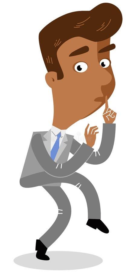 Vector el ejemplo de un hombre de negocios asiático de la historieta que se escabulle y que anda de puntillas con su finger en su libre illustration