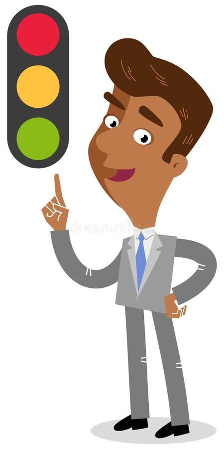 Vector el ejemplo de un hombre de negocios asiático de mirada amistoso de la historieta que señala en el semáforo stock de ilustración