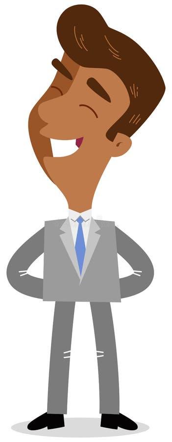 Vector el ejemplo de un hombre de negocios asiático orgulloso sonriente de la historieta que se coloca con los brazos detrás el s libre illustration