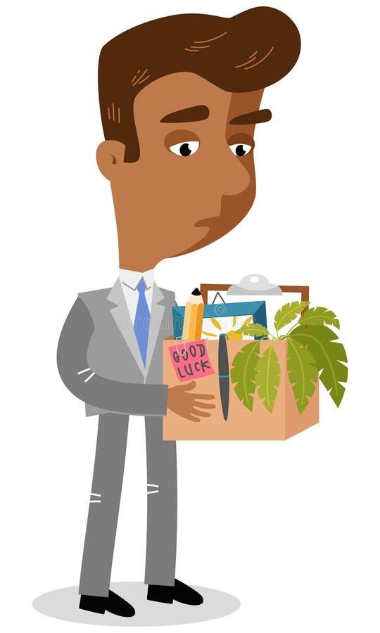 Vector el ejemplo de un hombre de negocios asiático triste de la historieta que perdió su caja que llevaba del trabajo con los ma ilustración del vector