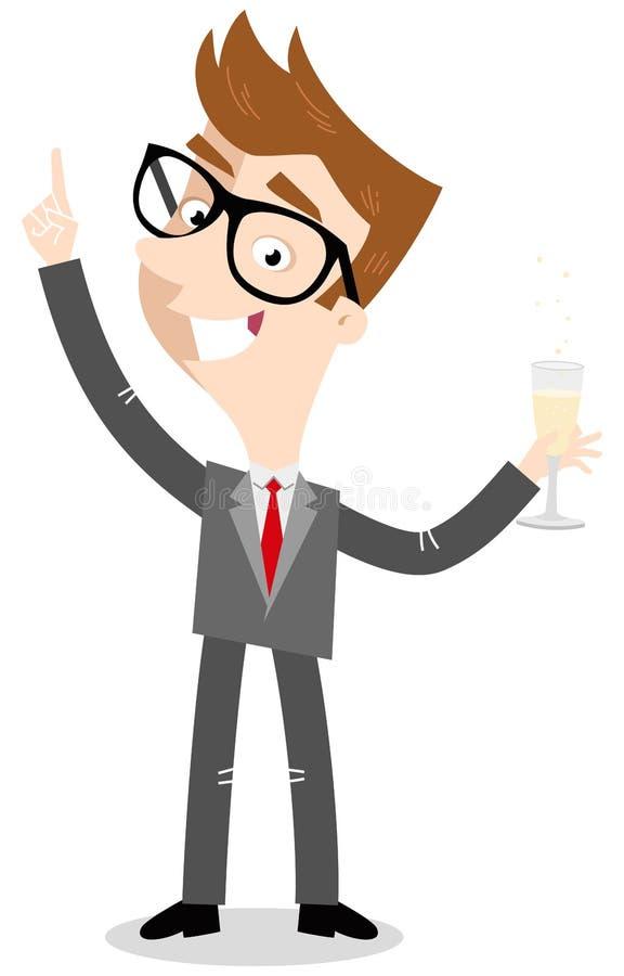 Vector el ejemplo de un hombre de negocios caucásico de la historieta que coloca y que aumenta el vidrio de champán libre illustration