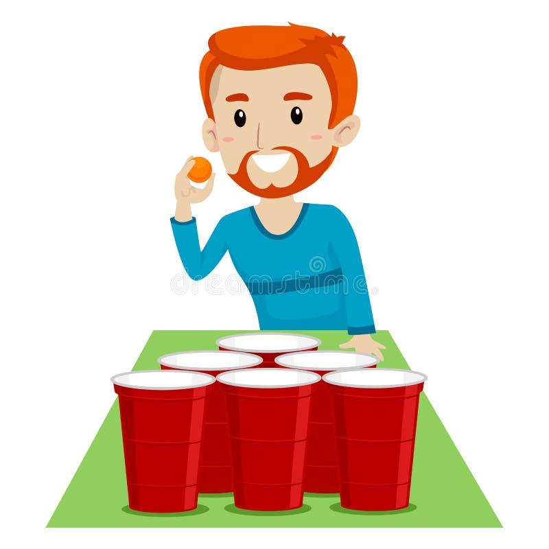 Vector el ejemplo de un hombre que juega la cerveza Pong stock de ilustración