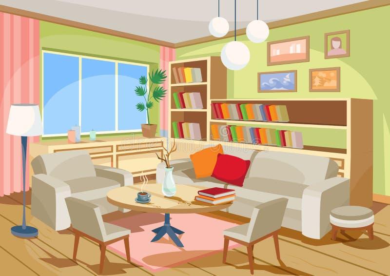 Vector el ejemplo de un interior acogedor de la historieta de un cuarto casero, una sala de estar stock de ilustración