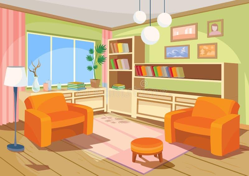 Vector el ejemplo de un interior de la historieta de un cuarto casero anaranjado, una sala de estar con dos butacas suaves stock de ilustración
