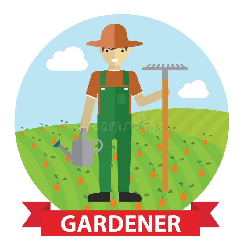 Vector el ejemplo de un jardinero feliz que se coloca con su utensilio de jardinería en campo stock de ilustración