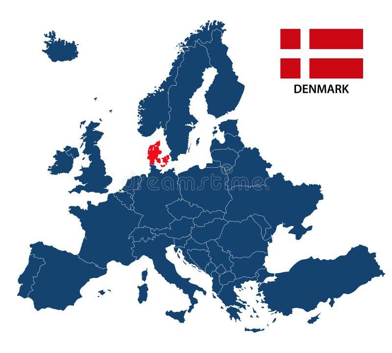 Vector el ejemplo de un mapa de Europa con Dinamarca destacada libre illustration