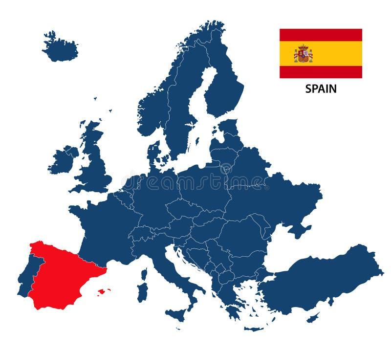 Vector el ejemplo de un mapa de Europa con España destacada ilustración del vector