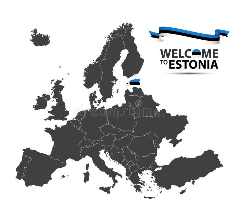 Vector el ejemplo de un mapa de Europa con el estado de Estonia stock de ilustración