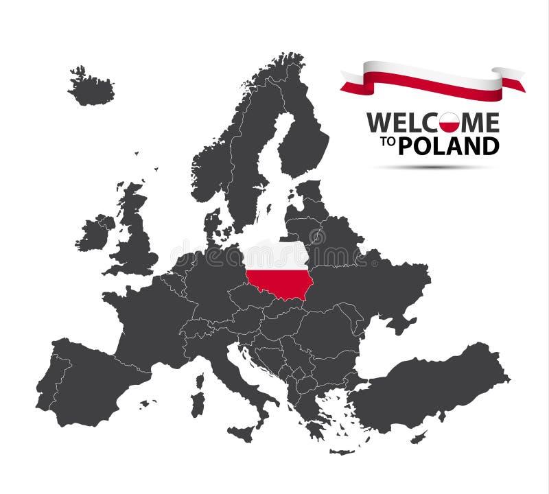 Vector el ejemplo de un mapa de Europa con el estado de Polonia libre illustration